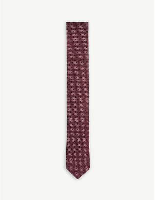 BOSS Pin and tonal dot print silk tie