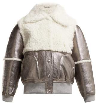 See by Chloe Crackled Metallic Leather And Shearling Jacket - Womens - Silver