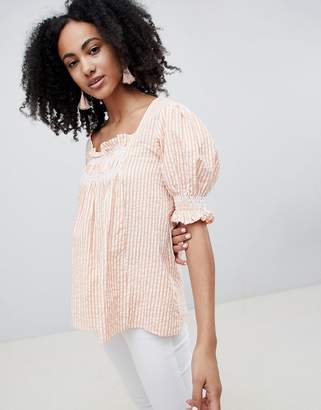 Lost Ink Smock Top With Shirring In Stripe
