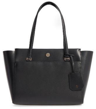 Tory Burch Small Parker Leather Tote - Black $265 thestylecure.com
