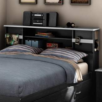 "South Shore Furniture South Shore Cosmos Full 54"" Bookcase Headboard, Black Onyx/Charcoal"