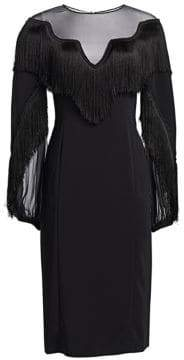 Alberta Ferretti Long Sleeve Fringe Dress