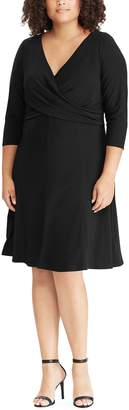 Chaps Plus Size Crossover Fit & Flare Dress