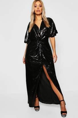 boohoo Gemma Collins Kimono Twist Sequin Maxi Dress