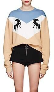 Off-White Women's Twisting Horses Cotton Fleece Sweatshirt - Beige, Tan