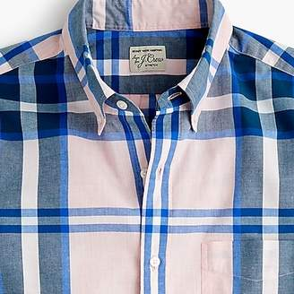 J.Crew Short-sleeve stretch Secret Wash shirt in heather poplin plaid