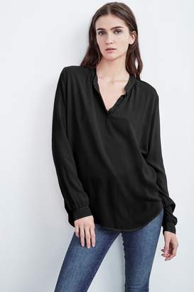 Velvet by Graham & Spencer ROSIE HALF-PLACKET CHALLIS BLOUSE