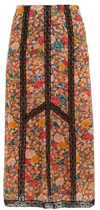 Etro Lace Insert Floral Print Crepe Skirt - Womens - Pink Multi