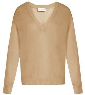 Raey - V Neck Fine Knit Cashmere Sweater - Womens - Tan