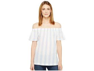 Vince Camuto Off the Shoulder Stripe Seersucker Side Slit Tunic Women's Short Sleeve Pullover