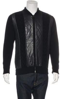 Salvatore Ferragamo Leather-Paneled Virgin Wool Jacket