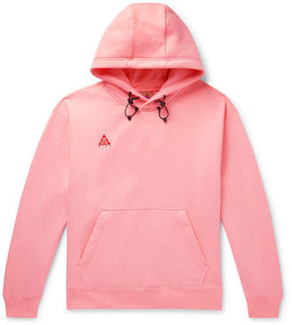 Nike Acg Oversized Logo-embroidered Fleece-back Cotton-blend Jersey Hoodie - Pink