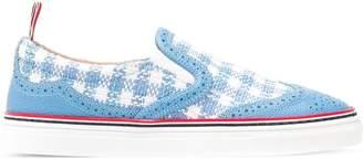 Thom Browne Brogued Gingham Tweed Slip-On Sneaker