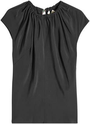 Diane von Furstenberg Off-Shoulder Silk Top with Self-Tie Trim