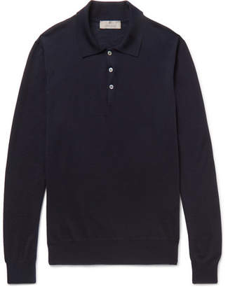 Canali Wool Polo Shirt - Navy