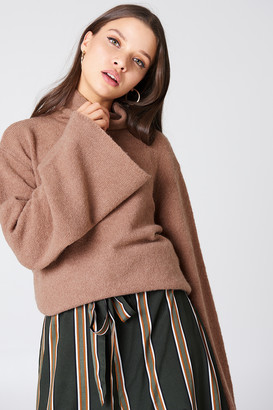 NA-KD Na Kd Bell Sleeve High Neck Knitted Sweater Dusty Dark Pink