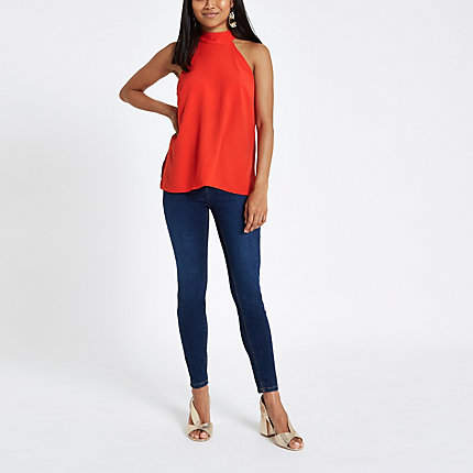 River Island Petite red halter neck sleeveless top