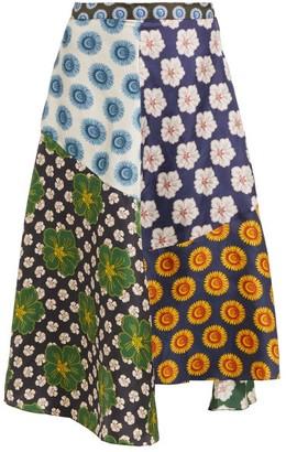 Biyan Miyana Floral Print Silk Skirt - Womens - Navy Multi