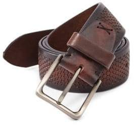 Saks Fifth Avenue COLLECTION Hexagon Imprint Leather Belt
