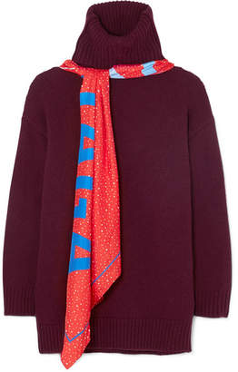 Balenciaga Printed Silk Scarf-detailed Wool Sweater - Burgundy