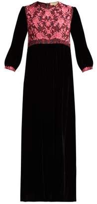 Muzungu Sisters - Touba Embroidered Velvet Dress - Womens - Black