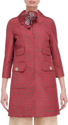 Atos Lombardini Red Printed Embellished Coat