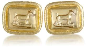 Gurhan 24K Yellow Gold and Crystal Dog Cufflinks