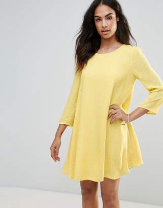 Frnch Swing Dress With Puff Sleeves