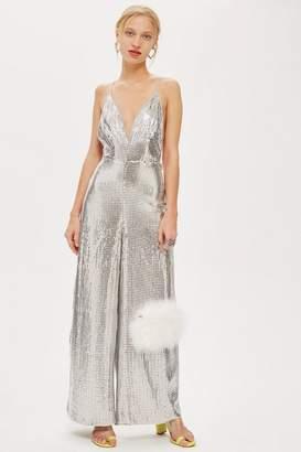 Topshop Silver Sequin Jumpsuit