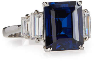 FANTASIA Emerald-Cut Simulated Sapphire Cocktail Ring, Blue