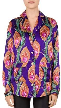 The Kooples Hindu Flower Print Silk Shirt