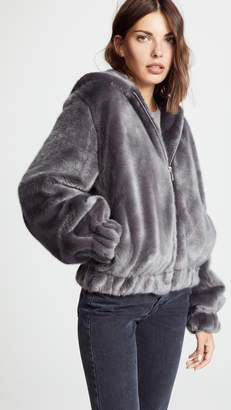 Helmut Lang Furry Hooded Bomber Jacket