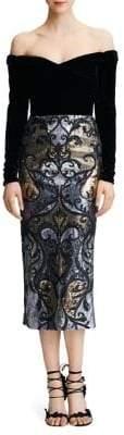 Marchesa Off-The-Shoulder Velvet & Sequin Dress