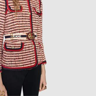 Gucci stripe belt with Double G and crystals