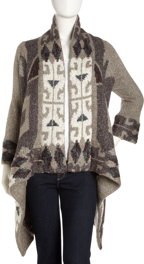 Line Folklore-Print Knit Wrap, Black Forest