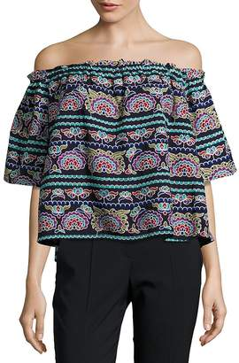 Romeo & Juliet Couture Women's Embroidered Cropped Top