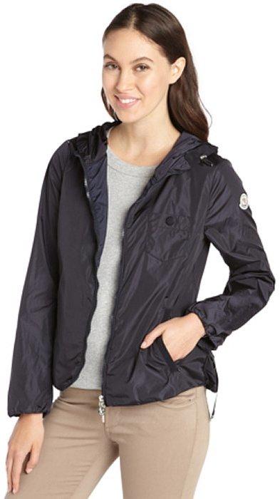 Moncler navy 'Gazon' belted zip front jacket