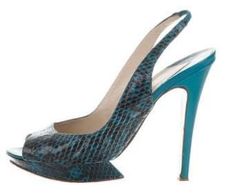 Nicholas Kirkwood Snakeskin Platform Sandals