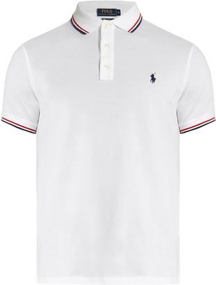 POLO RALPH LAUREN Slim-fit striped-collar cotton-piqué polo shirt $75 thestylecure.com