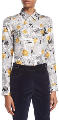 Gabriela Hearst Henri Button-Front Long-Sleeve Newspaper & Rose Print Silk Twill Blouse