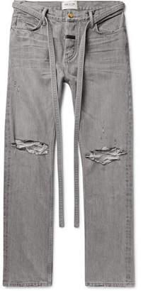 Fear Of God Belted Distressed Selvedge Denim Jeans - Men - Gray