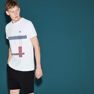 Lacoste Men's SPORT Tennis Striped Design Tech Jersey T-shirt