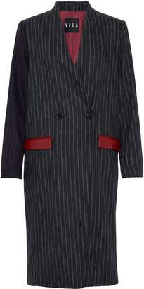 Veda Corporate Leather-trimmed Pinstriped Wool-blend Coat