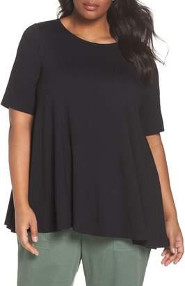 Eileen Fisher Jewel Neck Elbow Sleeve Tunic