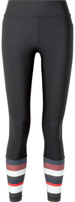 The Upside Cropped Striped Stretch Leggings - Black