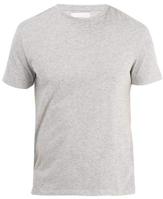 Solid & Striped Crew Neck Cotton Jersey T Shirt - Mens - Grey