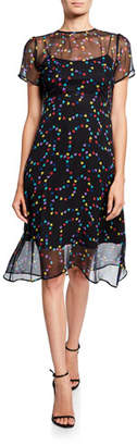 HVN Lindy Hearts Silk Chiffon Dress w/ Slip