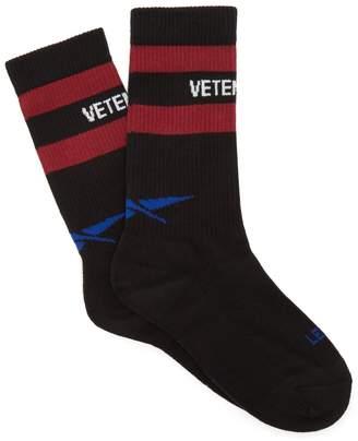 Vetements X Reebok logo striped cotton-blend socks
