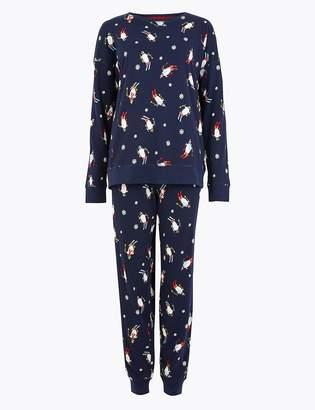 Marks and Spencer Pure Cotton Penguin Print Pyjama Set