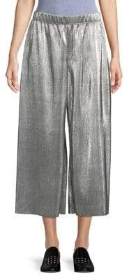 Kensie Metallic Pleated Wide Leg Pants